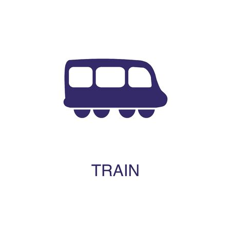 Train element in flat simple style on white background. Train icon, with text name concept template Illustration