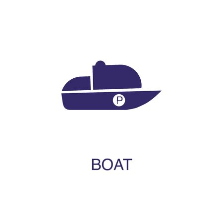 Boat element in flat simple style on white background. Boat icon, with text name concept template Stock fotó - 133701007
