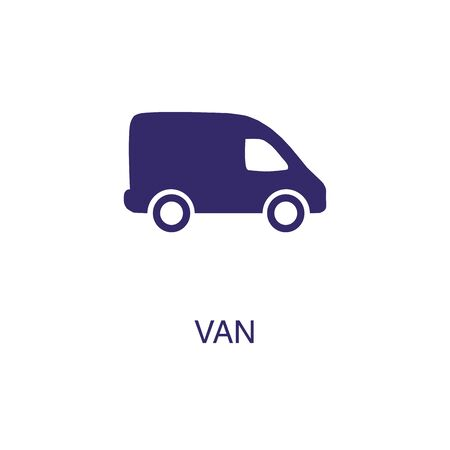 Van element in flat simple style on white background. Van icon, with text name concept template