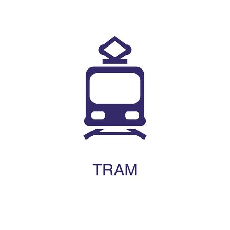 Tram element in flat simple style on white background. Tram icon, with text name concept template Ilustrace