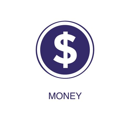 Money element in flat simple style on white background. Money icon, with text name concept Иллюстрация