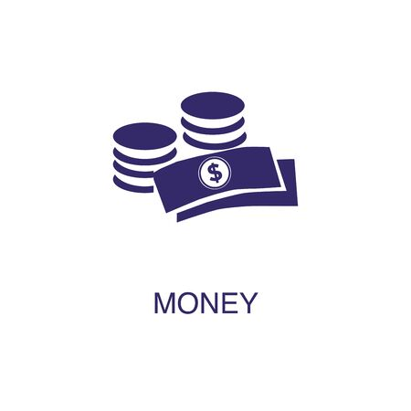 Money element in flat simple style on white background. Money icon, with text name concept Stock fotó - 133701173