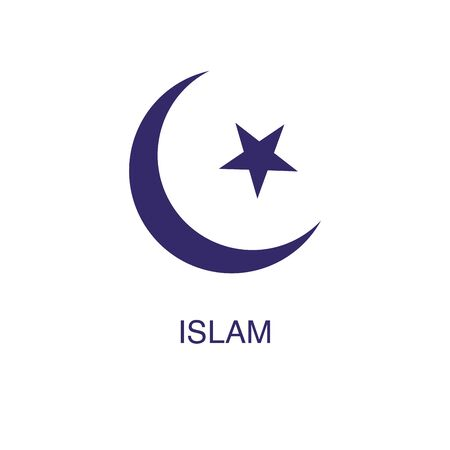 Islam element in flat simple style on white background. Islam icon, with text name concept template Ilustração
