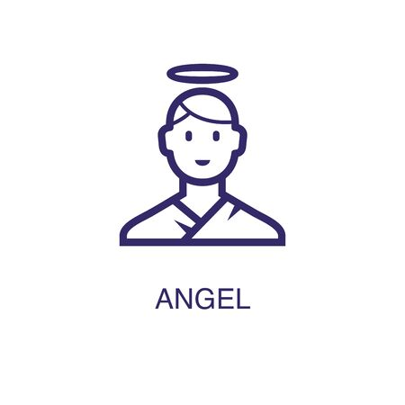 Angel element in flat simple style on white background. Angel icon, with text name concept template