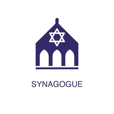 Synagogue element in flat simple style on white background. Synagogue icon, with text name concept template Ilustração