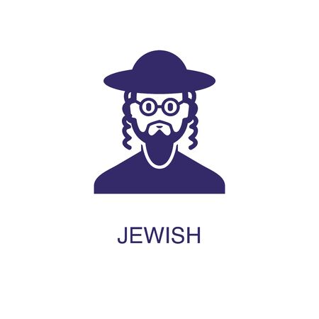 Jewish element in flat simple style on white background. Jewish icon, with text name concept template