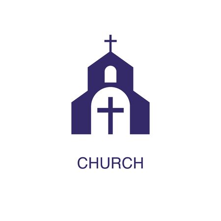 Church element in flat simple style on white background. Church icon, with text name concept template Ilustração