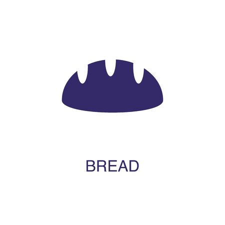 Bread element in flat simple style on white background. Bread icon, with text name concept template Ilustração