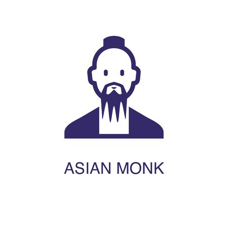 Asian monk element in flat simple style on white background. Asian monk icon, with text name concept template Ilustração
