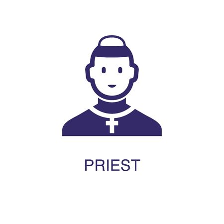 Priest element in flat simple style on white background. Priest icon, with text name concept template