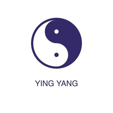 Yin yang element in flat simple style on white background. Yin yang icon, with text name concept template
