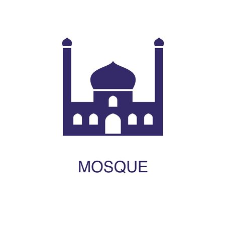 Mosque element in flat simple style on white background. Mosque icon, with text name concept template