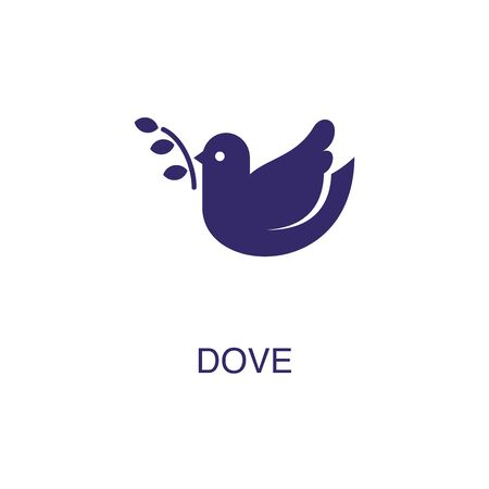 Dove element in flat simple style on white background. Dove icon, with text name concept template Ilustração