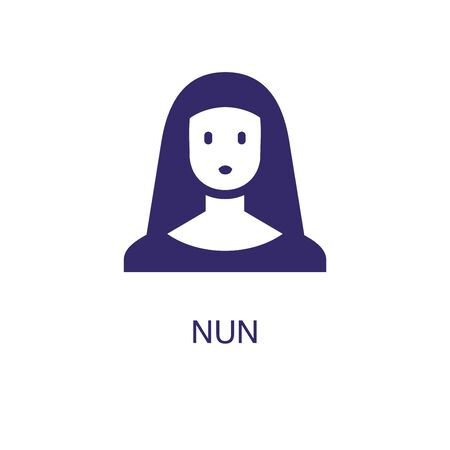 Nun element in flat simple style on white background. Nun icon, with text name concept template