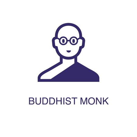 Buddhist monk element in flat simple style on white background. Buddhist monk icon, with text name concept template