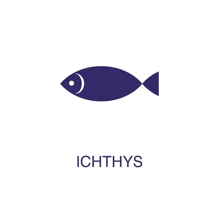 Ichthys element in flat simple style on white background. Ichthys icon, with text name concept template