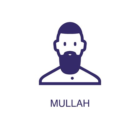 Mullah element in flat simple style on white background. Mullah icon, with text name concept template