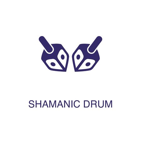 Shamanic drum element in flat simple style on white background. Shamanic drum icon, with text name concept template Ilustração