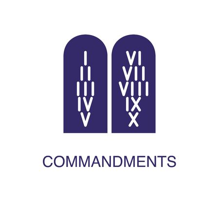 Commandments element in flat simple style on white background. Commandments icon, with text name concept template