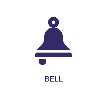 Bell element in flat simple style on white background. Bell icon, with text name concept template