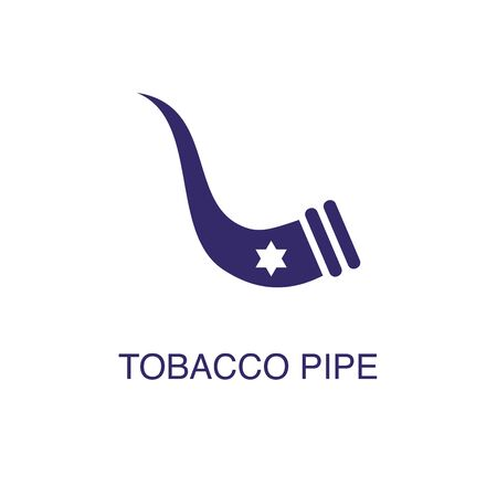 Tobacco pipe element in flat simple style on white background. Tobacco pipe icon, with text name concept template