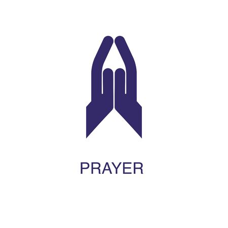 Prayer element in flat simple style on white background. Prayer icon, with text name concept template