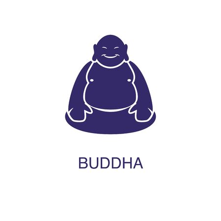 Buddha element in flat simple style on white background. Buddha icon, with text name concept template