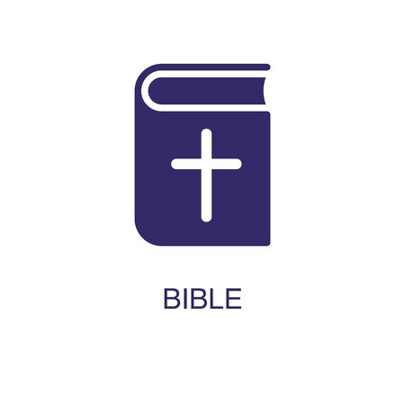 Bible element in flat simple style on white background. Bible icon, with text name concept template