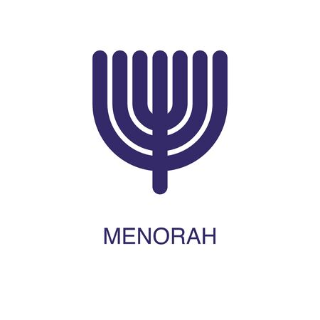 Menorah element in flat simple style on white background. Menorah icon, with text name concept template