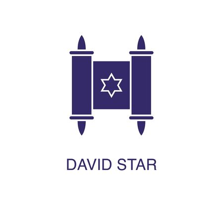 David star element in flat simple style on white background. David star icon, with text name concept template