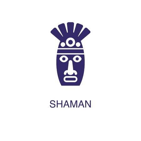 Shaman element in flat simple style on white background. Shaman icon, with text name concept template