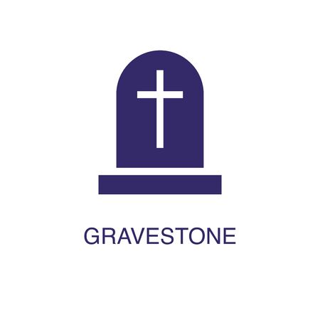 Gravestone element in flat simple style on white background. Gravestone icon, with text name concept template