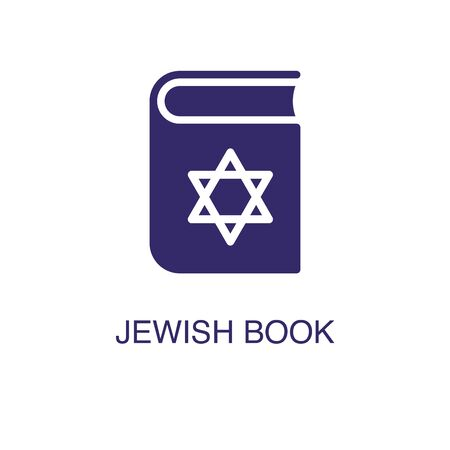 Jewish book element in flat simple style on white background. Jewish book icon, with text name concept template
