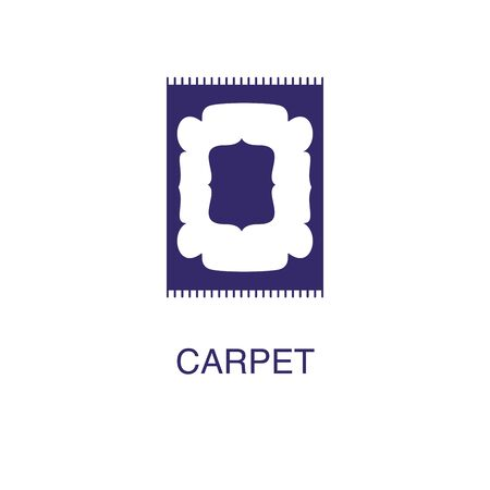 Carpet element in flat simple style on white background. Carpet icon, with text name concept template Ilustração