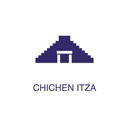 Chichen itza element in flat simple style on white background. Chichen itza icon, with text name concept template Ilustração