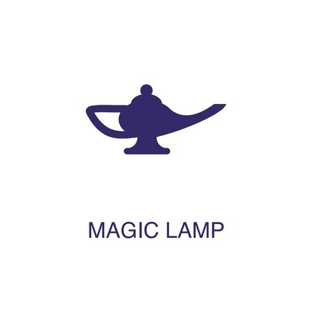 Magic lamp element in flat simple style on white background. Magic lamp icon, with text name concept template