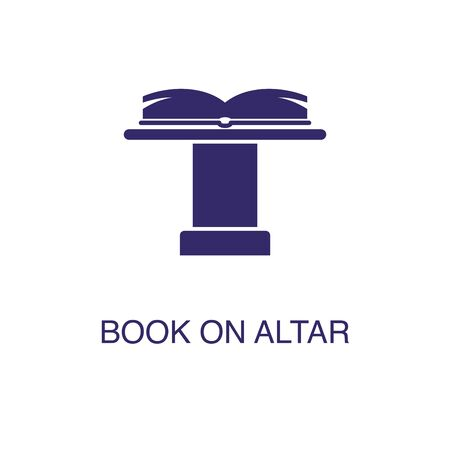 Book on altar element in flat simple style on white background. Book on altar icon, with text name concept template Ilustração