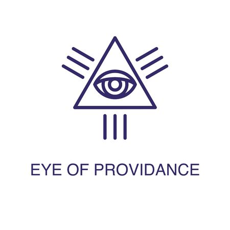 Eye of providence element in flat simple style on white background. Eye of providence icon, with text name concept template