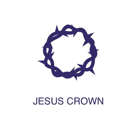 Jesus crown element in flat simple style on white background. Jesus crown icon, with text name concept template Ilustração