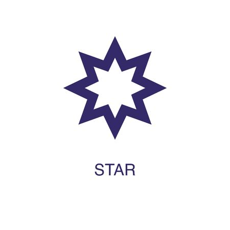 Star element in flat simple style on white background. Star icon, with text name concept template Ilustração