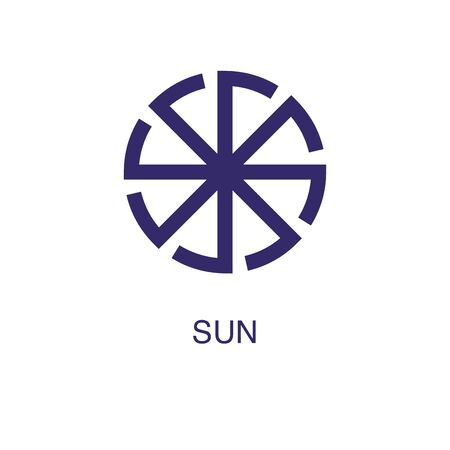 Sun element in flat simple style on white background. Sun icon, with text name concept template Ilustração