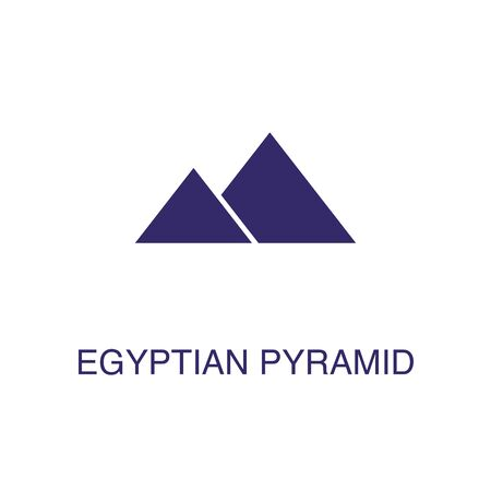 Egyptian pyramid element in flat simple style on white background. Egyptian pyramid icon, with text name concept template Ilustração