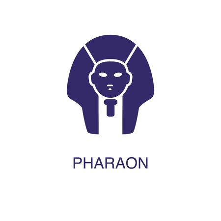 Pharaoh element in flat simple style on white background. Pharaoh icon, with text name concept template