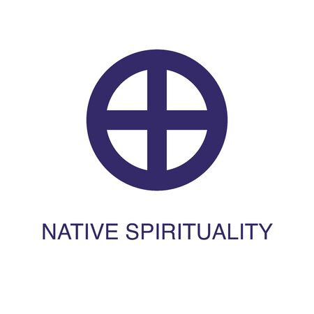 Native spirituality element in flat simple style on white background. Native spirituality icon, with text name concept template Ilustração
