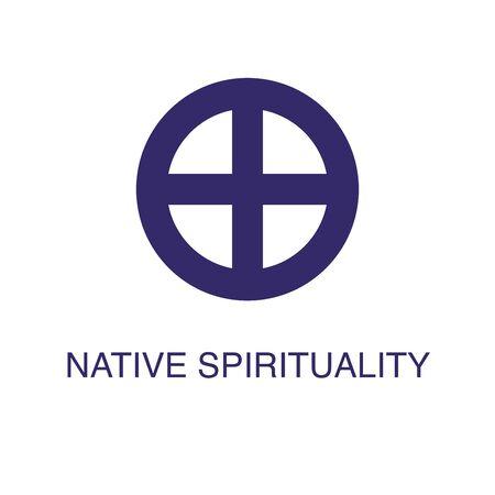 Natives Spiritualitätselement im flachen einfachen Stil auf weißem Hintergrund. Symbol für einheimische Spiritualität mit Textnamenkonzeptvorlage