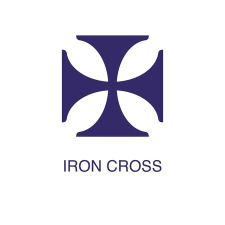 Iron cross element in flat simple style on white background. Iron cross icon, with text name concept template