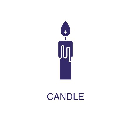 Candle element in flat simple style on white background. Candle icon, with text name concept template