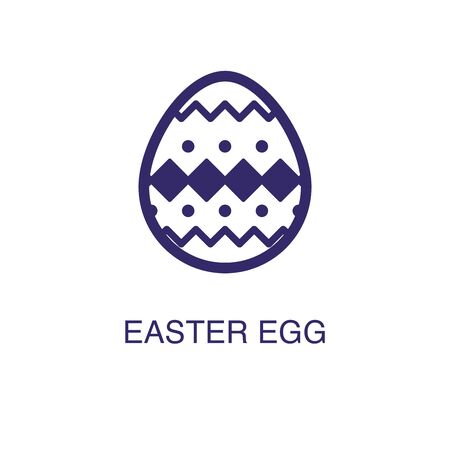 Easter egg element in flat simple style on white background. Easter egg icon, with text name concept template
