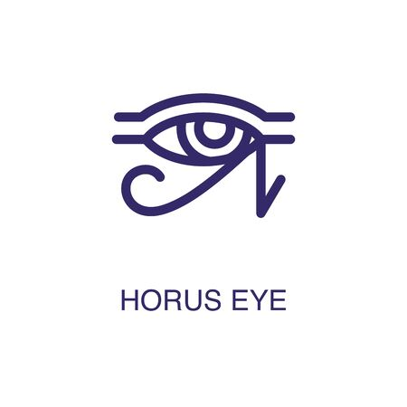 Horus eye element in flat simple style on white background. Horus eye icon, with text name concept template