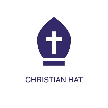 Chirstian hat element in flat simple style on white background. Chirstian hat icon, with text name concept template Ilustração
